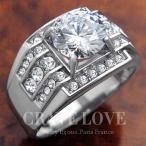 (メンズリング・男の指輪) 豪華デザイン メンズ ステンレス リング RM5-S / 指輪 / ラグジュアリー / ダイヤモンド カラー / プラチナ シルバー カラー / 幅広