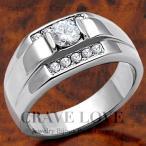 (メンズリング・男の指輪) 豪華デザイン メンズ ステンレス リング/指輪/RM8-S/ ダイヤモンド カラー/ プラチナ シルバー カラー