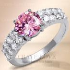 ピンクダイヤモンド カラー パヴェ リング / 指輪  / PINK /  シルバー カラー リング /レディース リング