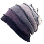 大きいサイズ 帽子 メンズ ニット帽子 ボーダー ビッグワッチ  黒グレーグラデーションDB04 BIGWATCH