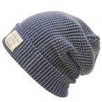 大きいサイズ 帽子 メンズ ニット帽 インディゴ ラージスケール ロング ビッグワッチ ローゲージ