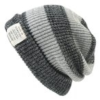 大きいサイズ 帽子 ニットキャップ ロング ボーダー  ブラック/グレー 黒 リバーシブル メンズ ニット帽 BIGWATCH