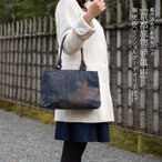藍 柿渋染 トートバッグ レディース ハンドバッグ 日本製 京都  花柄 和装 和柄 A4 大きい 着物 帆布 生地 旅行 お稽古