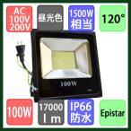 LED投光器 100Wで17000lm(1500W相当) 防水 昼光色 LEDライト 作業灯 ワークライト アース付き2Pコード