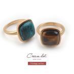 リング  指輪  アンティーク  スクエア  シンプル  金  ゴールド  ターコイズ  ブラウン  樹脂  大ぶり  デイリーゆうパケットOK