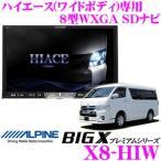 アルパイン X8-HIW トヨタ 200系ハイエース(ワイドボディ)専用 4×4地デジチューナー搭載 8型WXGA DVDビデオ/Bluetooth/USB内蔵