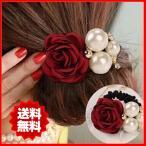 Hair Accessories - 選べる3色 ヘアゴム バラ パール シュシュ 大きめ レディース ヘアアクセサリー 女性用ヘアゴム