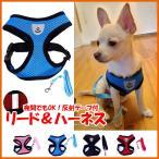 ハーネス&リードセット 散歩 カラフル 胸あて式 軽量 調節可能 胴輪 ハーネス 犬/猫用 メッシュデザイン 通気性