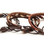 エスニック レザー ブレスレット ハンドメイド 民族風 エキゾチック スタイル アジアン 3連 編み込み セット (ブラウン)