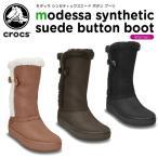 クロックス(crocs) モデッサ シンセティック スエード ボタン ブーツ ウィメン (modessa synthetic suede botton boot w)[C/C]