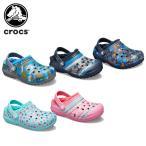 クロックス crocs  クラシック プリンテッド ラインド クロッグ キッズ classic printed lined clog kids  キッズ サンダル シューズ 子供用 ボア[C/A]