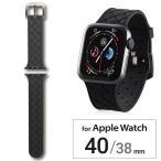 エレコム アップルウォッチ AppleWatch バンド SE 6 5 4 ( 40mm ) 3 2 1 ( 38mm ) ベルト シリコン ブラック AW-40BDSCIBK