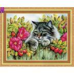 クロスステッチ刺繍キット花を眺める猫ちゃんCSA-494 生地に図案印刷