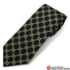 グッチ GUCCI ネクタイ シルク100% ロゴ格子柄 ブラック 黒 ゴールド GUCCI-499695-1079 ポイント消化画像