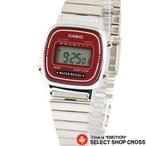 チプカシ チープカシオ カシオ レディース 腕時計 デジタル LA670WA-4 ワインレッド 赤/シルバー