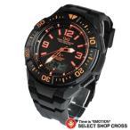Q&Q メンズ 腕時計 電波 時計ソーラー アナログ 10気圧防水 MD06-315 ブラック 黒 オレンジ おしゃれ ポイント消化