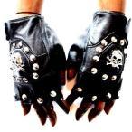 アクセサリー 指抜き手袋 グローブ レザーグローブ スタッズ付き手袋