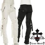 ゴシック パンク ロック メンズ ボンテージパンツ カーゴパンツ スリム 個性的 黒 白 きれいめ ファッション くしゅくしゅ シャーリング ベルクロ 2271-13Bev