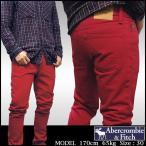 アバクロ メンズ Abercrombie & Fitch 正規 カラー SKINNY スキニー ダメージ AFD020 ウォッシュ レッド デニム パンツ カジュアル ファッション