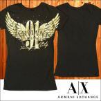 A|X Armani Exchange アルマーニエクスチェンジ レディース 半袖 スタッズ Tシャツ ロング丈 ブラック ゴールド トップス アメカジ サーフ セレカジ