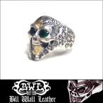 【即納】 Bill Wall Leather BWL ビルウォールレザー シルバー リング Graffiti Small Good Luck Skull w/ Stone Eyes RC104