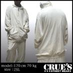 CRUES ベロア セットアップ ホワイト オーバーサイズ ストリート ファッション HIPHOP  ヒップホップ B系 スタイル 大きいサイズ