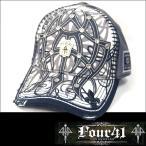 Four41 Los Angeles フォーフォーティーワン スワロフスキー キャップ グレー 53 CAP メンズ レディース 帽子 インポート セレブ LAセレブ ロック スタイル
