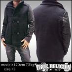 TRUE RELIGION トゥルーレリジョン メンズ コート ジャケット CABAN DOUBLE BREAST ブラック アウター サファリ 掲載  ブランド カジュアル