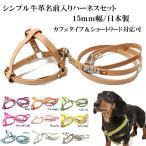 犬のハーネスセット 小型犬中型犬用 シンプル革名前入りハーネス15mm幅+リード付 Mサイズ