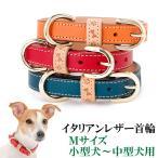 犬の首輪 犬首輪 小型犬中型犬用 イタリアンレザー首輪 Mサイズ