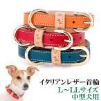 犬の首輪 犬首輪 中型犬用 イタリアンレザー首輪 L、LLサイズ