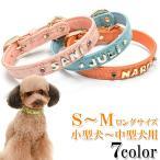 犬の首輪  犬首輪 小型犬中型犬用 クロコダイル型押しイニシャル首輪カシメ SMサイズ