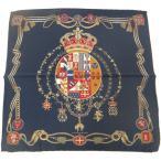 ポケットチーフ 王冠とナポリの紋章 ネイビーのポケットスクウェア