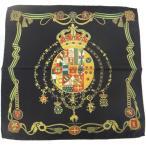 ポケットチーフ 王冠とナポリの紋章 ブラックのポケットスクウェア