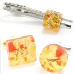 カフスセット 全4種 ムラーノ ベネチアンガラス ゴールド オレンジ メンズ プレゼント カフスマニア
