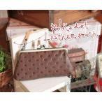ポルカドット・がま口ポーチ(革製ポーチ/マルチポーチ/がま口/ホワイトデーのプレゼントにお勧め)[Kanmi./カンミ]