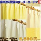 カーテン オーダーカーテン 遮光 防炎 形状記憶 幅60cm 70cm 80cm 90cm 100cm 丈205cmから丈260cm 2枚セット 風通組織