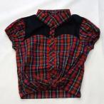 [2015春夏セール商品60%OFF]CHUBBY GANG ロゴ刺繍チェック半袖ブラウス(140cm)【セール商品のため代引き対象外】