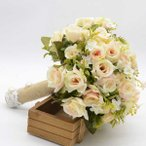 ブーケ/ウエディングブーケ/ブライダルブーケ/シルクフラワーブーケ 可愛いチュール付き ウェディングブーケセット 造花高級ブーケ ドレスブーケ 造花