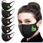 マスク5枚セットクリスマス元素 可愛い字プリント男女兼用マスク快適洗える布 面白い 繰り返し使うマスク 飛沫防止ほこり防止 風邪 5色2セット送料無料
