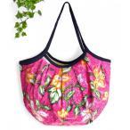 (ポイント還元 8%)グラニーバッグ ショルダーバッグ トートバッグ バティック柄(桃色)軽い 折り畳める 布バッグ ハンドメイド