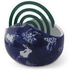 蚊やり 蚊取り線香入れ 花瓶 花器 鉢カバー ハイドロカルチャー ウサギ柄 染付 陶器(縁結び 安産祈願 出世運)骨董風 ギフト