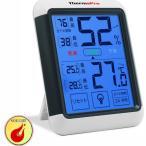 ThermoProデジタル湿度計 温度計室内 最高最低温湿度表示 LCD大画面温湿度計 タッチスクリーンとバックライト機能あり 置き掛け両用タイプTP55