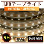 5050LEDテープライト 調光可能 100V 5M 電球色 間接照明 インテリア デコレーション照明 CY-TPD5W5M