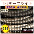 ショッピングLED LEDテープライト 調光可能 100V 5M 電球色 間接照明 棚照明 インテリア 明るい 二列式 CY-TPDW5M