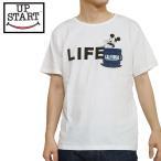 UP START アップスマイル 半袖Tシャツ tee 白 ホワイト ミッキー Mickey コラボ コラボアイテム 胸ポケット プリント かわいい ニコスマイル アップスタート