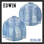 ショッピングパッチワーク EDWIN エドウィン デニムシャツ ウェスタンシャツ パッチワーク ダメージ加工 ヴィンテージ 長袖シャツアメカジ メンズ