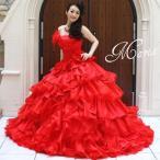 カラードレス*段フリル華やかふわふわトレーンドレスm-k-a126
