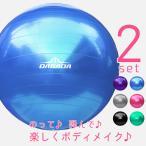 【お買い得2セット】バランスボール フットポンプ付き 直径65cm 全5色 送料無料