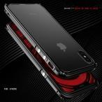 伝奇 iphoneX アルミバンパー iphone X ケース アイフォンXメタルフレーム ストラップ穴 背面透明プレート付き 9H強化ガラスフィルム付き